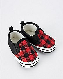 Red Plaid Baby Shoes