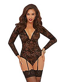 Long Sleeved Floral Lace Teddy with Garters