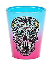 Sugar Skull Shot Glass 1.5 oz