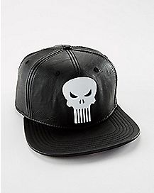 Faux Leather Punisher Snapback Hat