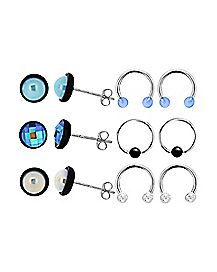 Iridescent Horseshoe Captive Stud Earrings 6 Pack