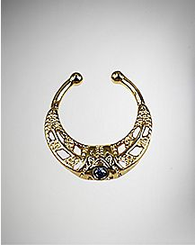 Blue Gem Faux Septum Ring