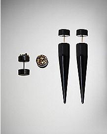 18 Gauge Druzy Fake Plug & Taper Set