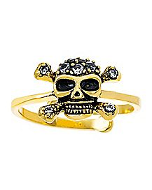 Plated CZ Skull Ring