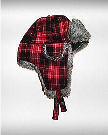 Faux Fur Maroon Plaid Trapper Hat