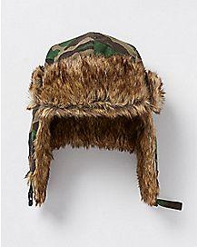 Faux Fur Camo Trapper Hat