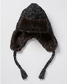 Gray Trapper Hat with Faux Fur