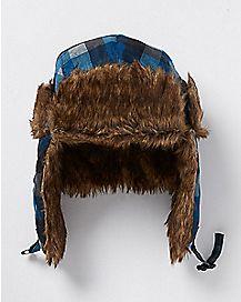 Blue Plaid Trapper Hat with Faux Fur