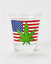 Pot Leaf American Flag Shot Glass