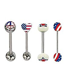 Fourth of July Barbell 4 Pack - 14 Gauge