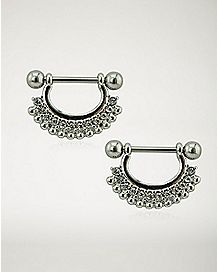Silver CZ Beaded Nipple Shields - 14 Gauge