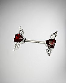 14 Gauge CZ Heart Nipple Ring - Red