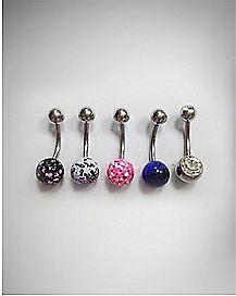 Splatter Black Pink CZ Belly Ring 5 Pack - 14 Gauge