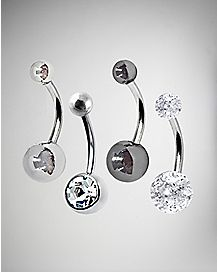 Black Belly Ring 4 Pack - 14 Gauge