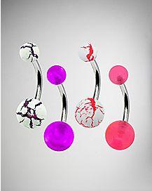 Pink & Purple Crackle Barbell Belly Ring 4 Pack - 14 Gauge