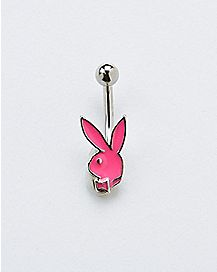 Pink Playboy Bunny Belly Ring - 14 Gauge
