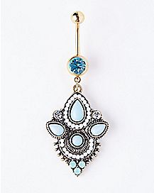 Ornate Blue Stone Dangle Belly Ring - 14 Gauge