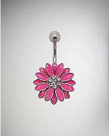 14 Gauge Pink Daisy Belly Ring