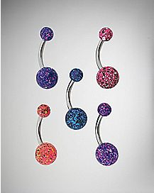 Splatter Barbell Belly Ring 5 Pack - 14 Gauge