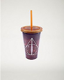 Deathly Hallows Harry Potter Cup With Straw - 16oz