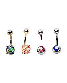 Blue & Pink Barbell Belly Ring 4 Pack - 14 Gauge