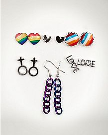 Pride Studs and Dangle Earring Set 6 Pack