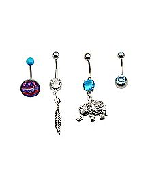 Elephant Feather Barbell Belly Ring 4 Pack - 14 Gauge