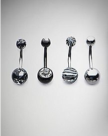 Black CZ Barbell Belly Ring 4 Pack - 14 Gauge