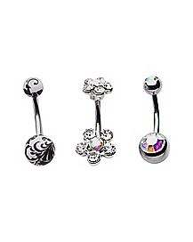 CZ Barbell Belly Ring 3 Pack - 14 Gauge