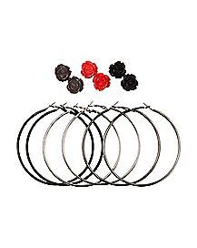 Rosette Hoop and Stud Earrings 6 Pack