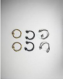 16 Gauge Assorted Horseshoe Captive Ring 6 Pack