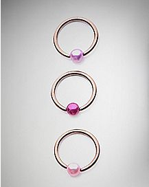 18 Gauge Pink Captive Ring 3 Pack
