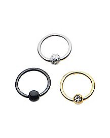 18 Gauge Black CZ Captive Ring 3 Pack