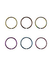 20 Gauge Colored Seamless Hoop Nose Ring 6 Pack