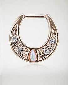 Opal-Effect CZ Clicker Septum Nose Ring - 16 Gauge