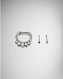 Opal-Effect Clicker Septum Ring Set - 16 Gauge