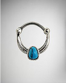 Turquoise Stone-Effect Septum Nose Ring - 16 Gauge