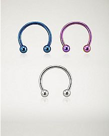 16 Gauge Blue Pink Smiley Horseshoe Ring 3 Pack