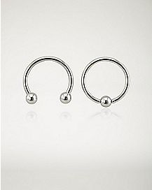 16 Gauge Smiley Horseshoe Captive Ring - 2 Pack