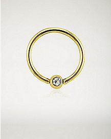 CZ Seamless Captive Ring - 16 Gauge