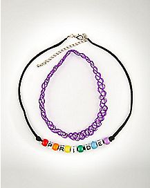 Pride Necklace and Tattoo Choker Set 2 Pack
