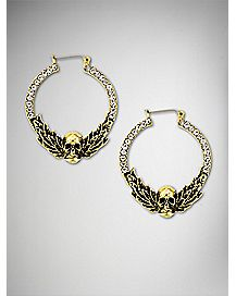 Gold CZ Skull Hoop Earrings