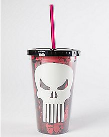 Skull Punisher Cup With Straw - 16 oz.