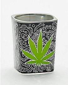 Pot Leaf Trippy Square Shot Glass - 2 oz.