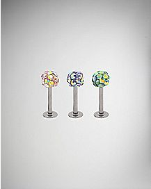 Colored Ball Gem Lip Ring 3 Pack - 16 Gauge