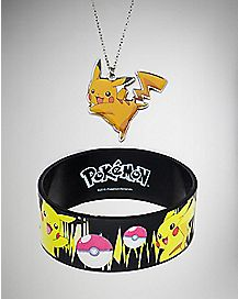 Pikachu Pokemon Necklace and Bracelet Set