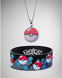 Pokeball Pokemon Necklace and Bracelet Set