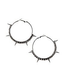 Gem Spike Hoop Earrings