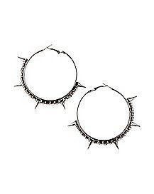 Gem Spike Hoop Earrings