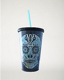 Sugar Skull Cup with Straw - 16 oz.